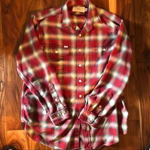 Vintage Ralph Lauren Authentic Dungarees Polo Red & White Plaid 100% Cot Flannel